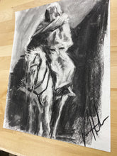 "Load image into Gallery viewer, Humble Rider - 11""x14"" Original Charcoal Sketch"