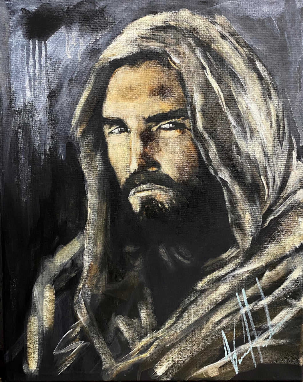 "The Gaze of Our Savior - 16""x20"" Original Acrylic Painting"