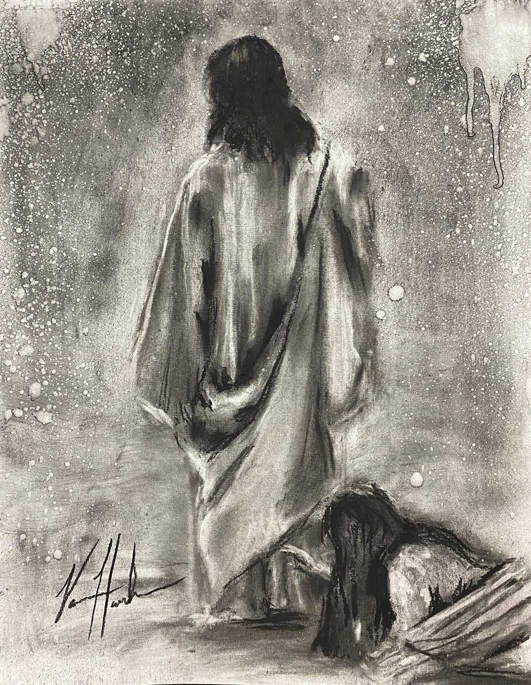 "Jesus Healer - 11""x14"" Original Charcoal Sketch"