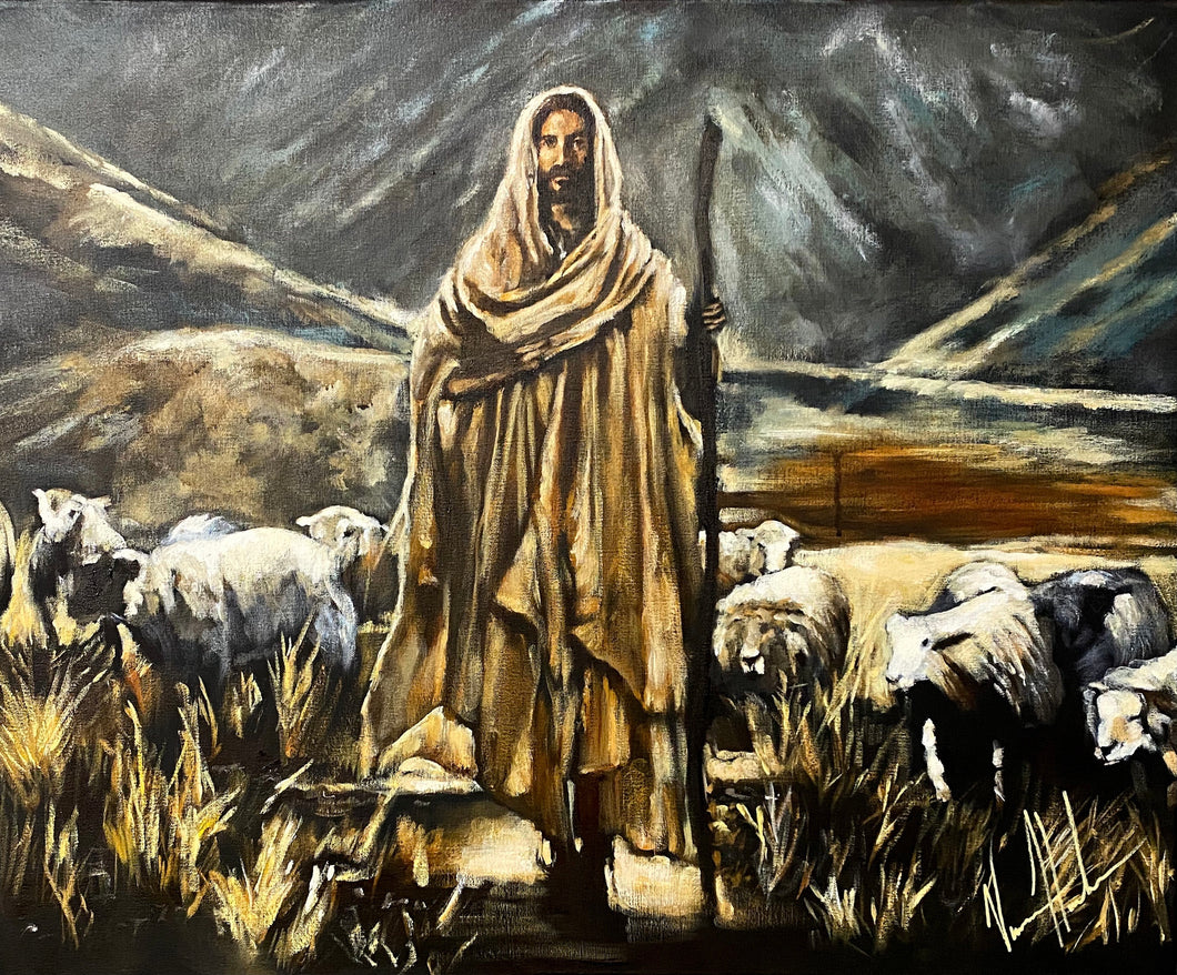 "The Lord is My Shepherd - 24""x30"" Original Acrylic on Canvas"