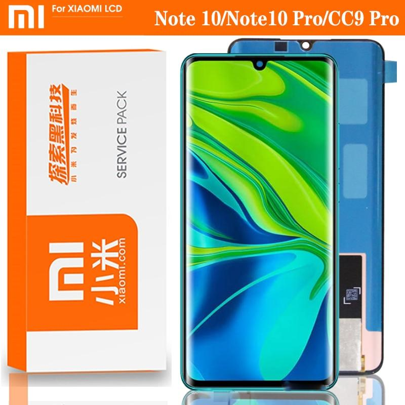 "100% original 6.47 ""super amoled display para xiaomi mi nota 10 pro display mi cc9 pro toque digitador assembléia peças de reparo"