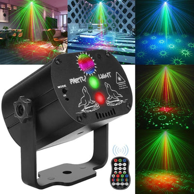 Mini RGB Disco Light DJ LED Laser Stage Projector red blue green Lamp USB Rechargeable Wedding Birthday Party DJ Lamp - Ebaiashop