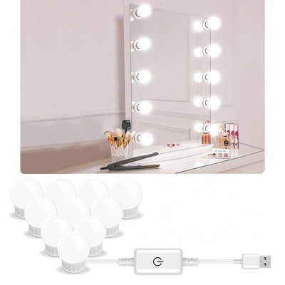 5V Led Makeup Mirror Light Bulb Hollywood Makeup Vanity Lights USB Wall Lamp 2/6/10/14pcs Dimmable Dressing Table Mirror Lamp - Ebaiashop