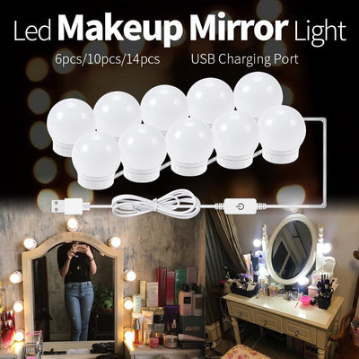 CanLing LED 12V Makeup Mirror Light Bulb Hollywood Vanity Lights Stepless Dimmable Wall Lamp 6 10 14Bulbs Kit for Dressing Table - Ebaiashop