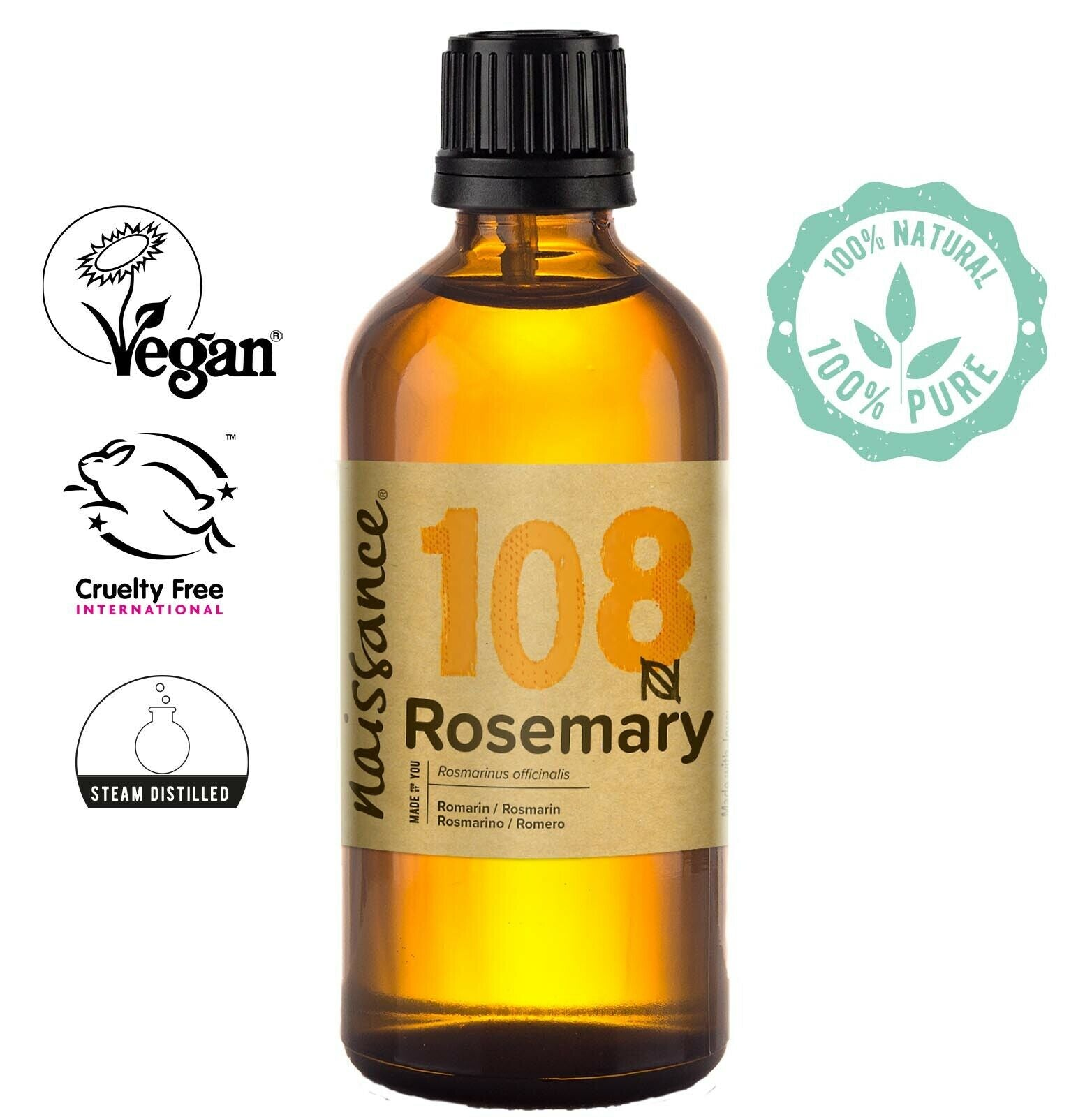 Naissance Rosemary Essential Oil 100ml Use in Aromatherapy, Massage Blend