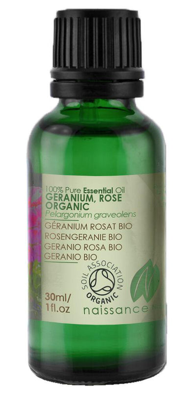 Naissance Geranium Rose Certified Organic Essential Oil Use in Aromatherapy