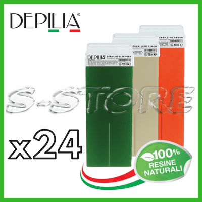 24 PZ DEPILIA RICARICHE RULLO CERA DEPILATORIA ROLL-ON CERETTA A SCELTA