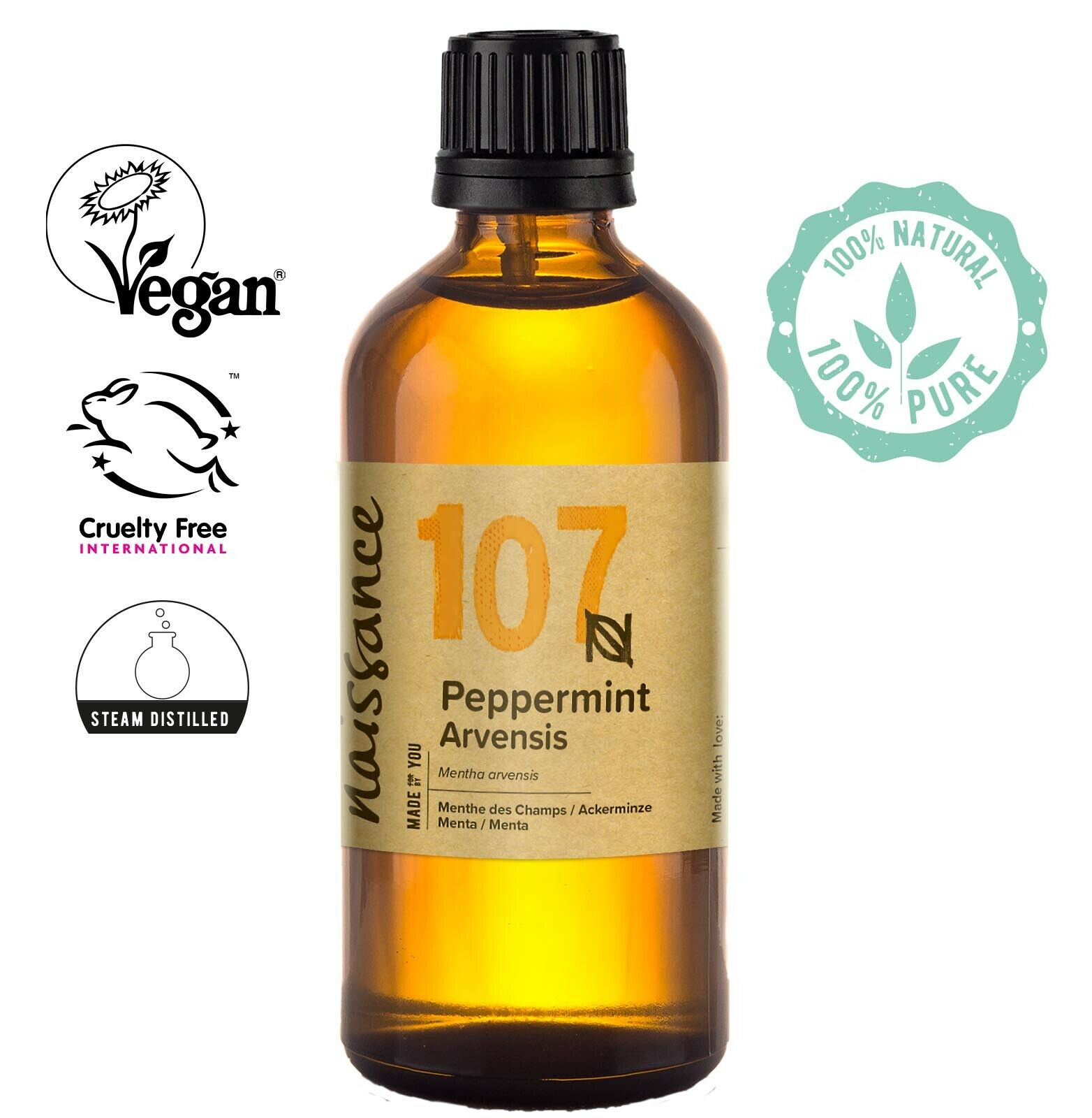 Naissance Peppermint Arvensis Essential Oil 100ml Use in Aromatherapy