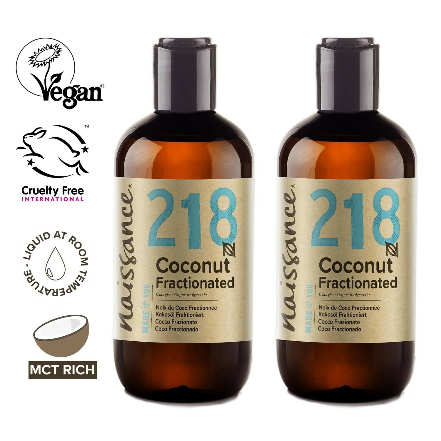 Naissance Coconut Fractionated Oil 500ml (2 x 250ml) Perfect for moisturising