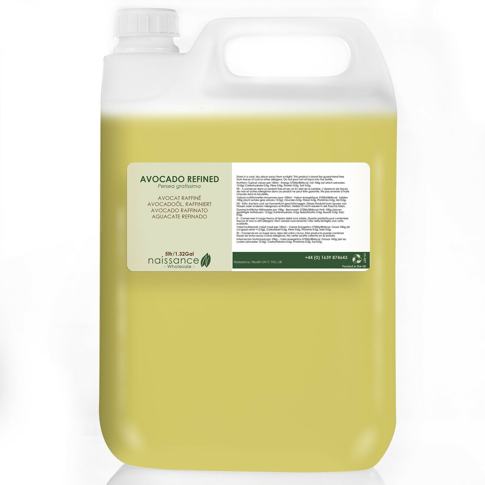 Naissance Avocado Refined Carrier Oil 5 Litres Wholesale