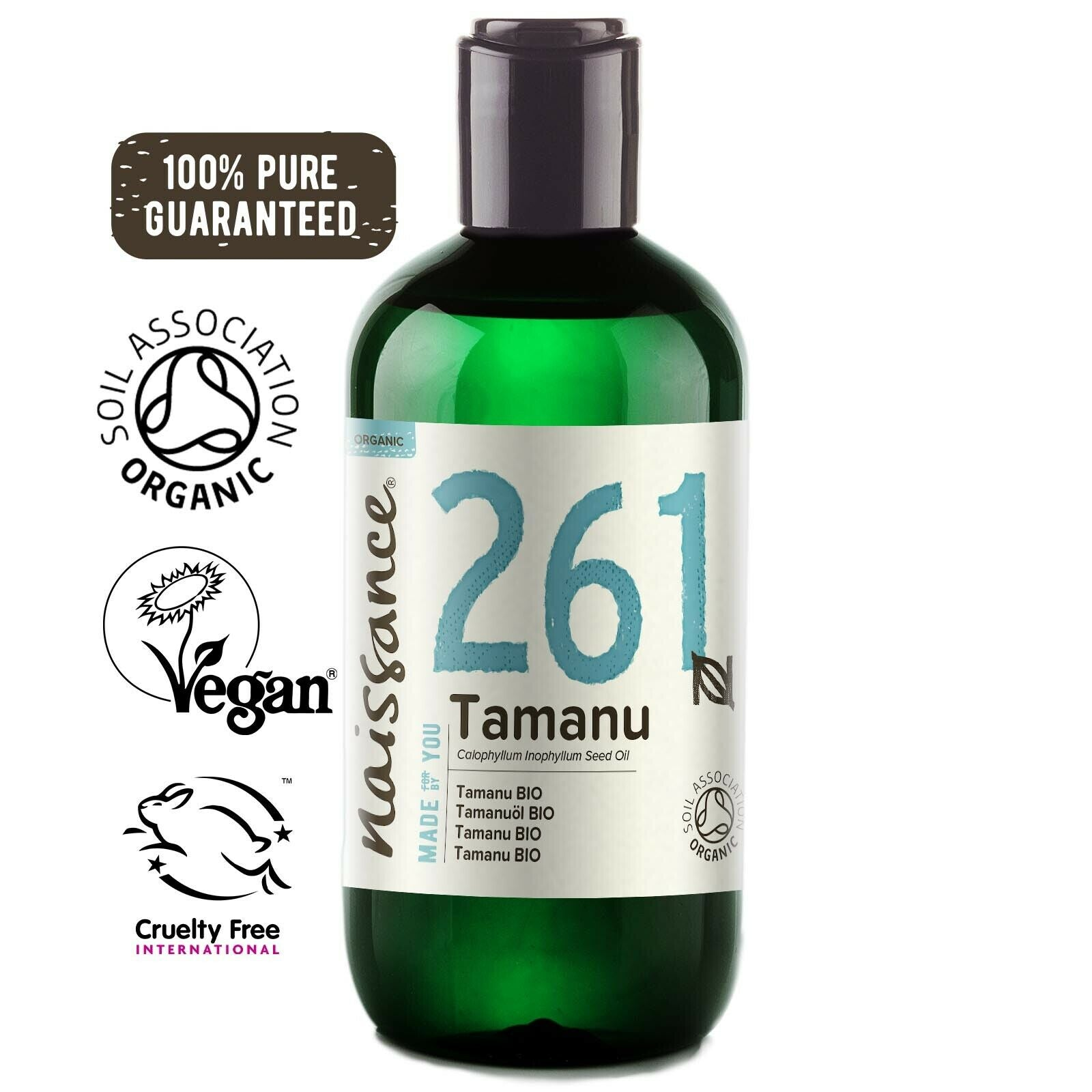Naissance Tamanu Oil 250ml cold pressed certified organic 100% pure for skincare