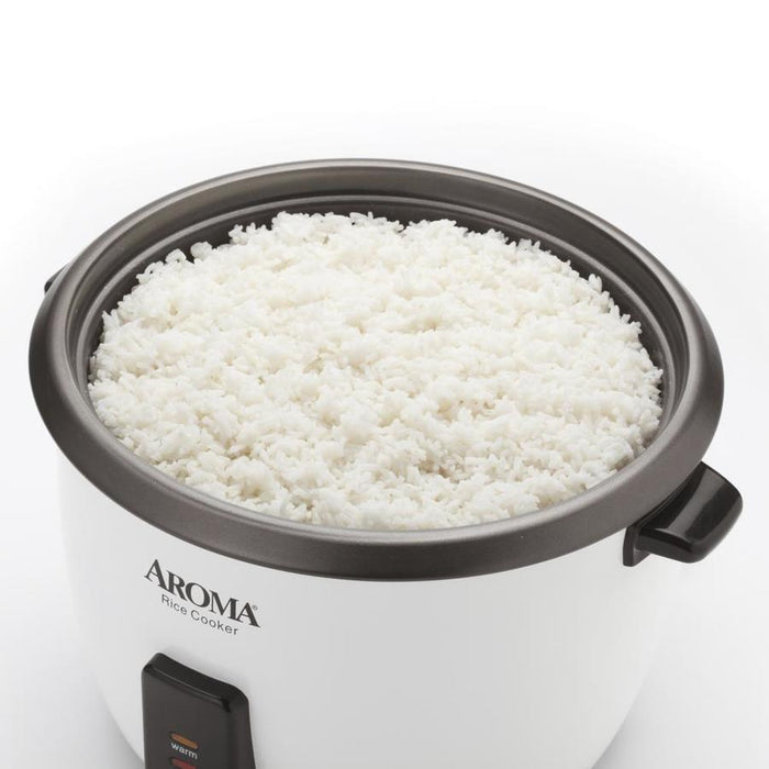 Aroma 6-Cup (Cooked) Pot Style Rice Cooker and Food Steamer, White