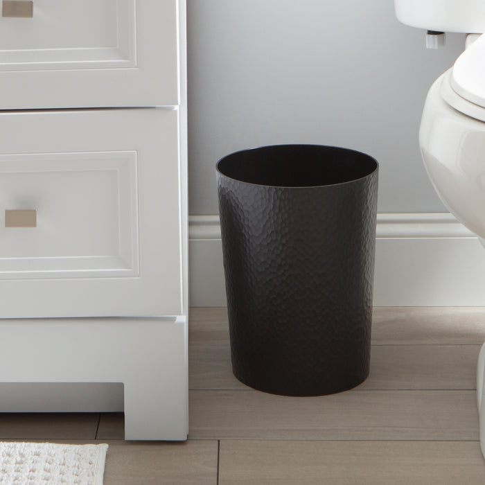 Bath Bliss Hammered Round Trash Bin-Black
