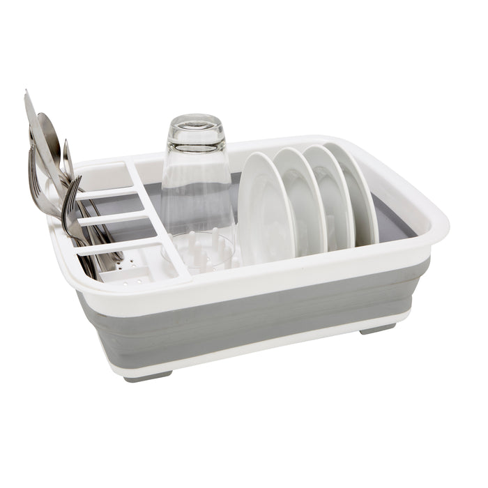 Kitchen Details Collapsible Dishrack With TPR Bottom - White & Grey