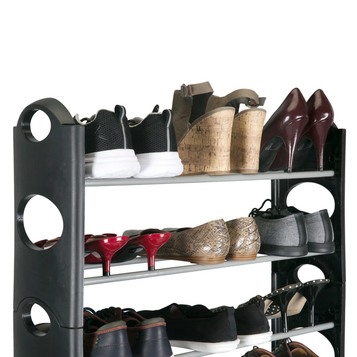 Simplify 30 Pair 10 Shelf Stackable Shoe Rack-Black