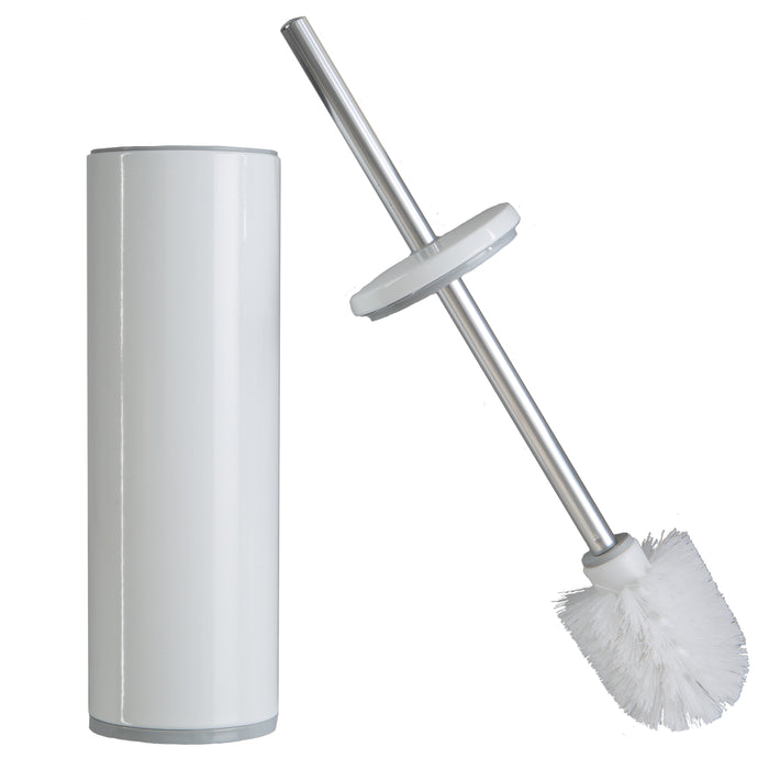 Bath Bliss Deluxe Stainless Steel Toilet Brush With Fully Removable Liner - White
