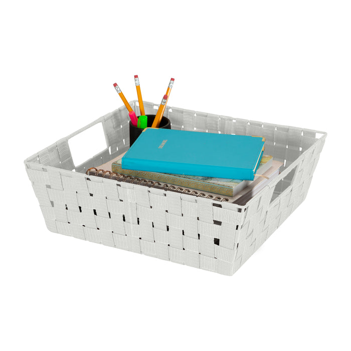 "Simplify Large 13"" Woven Strap Storage Bin-Heather Gray"