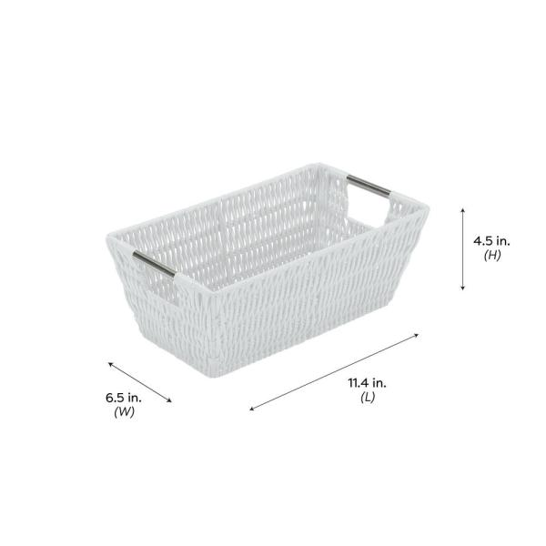 Simplify Small Shelf Storage Rattan Tote Basket - White