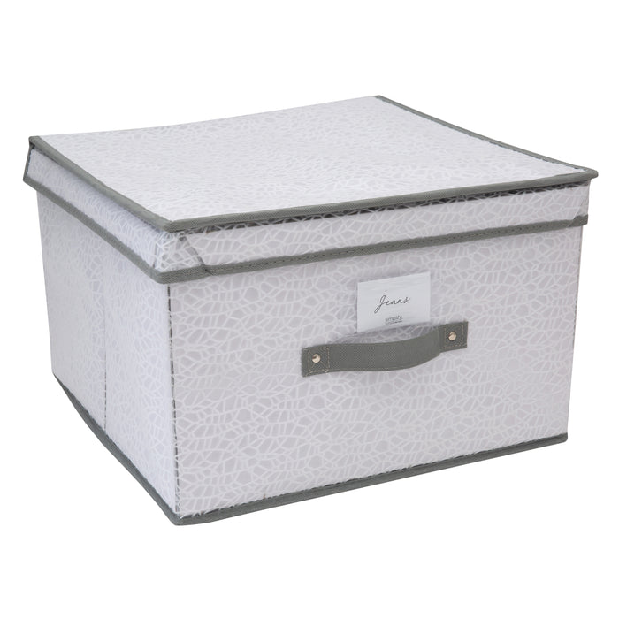 Simplify Embossed Nest Jumbo Storage Box-White