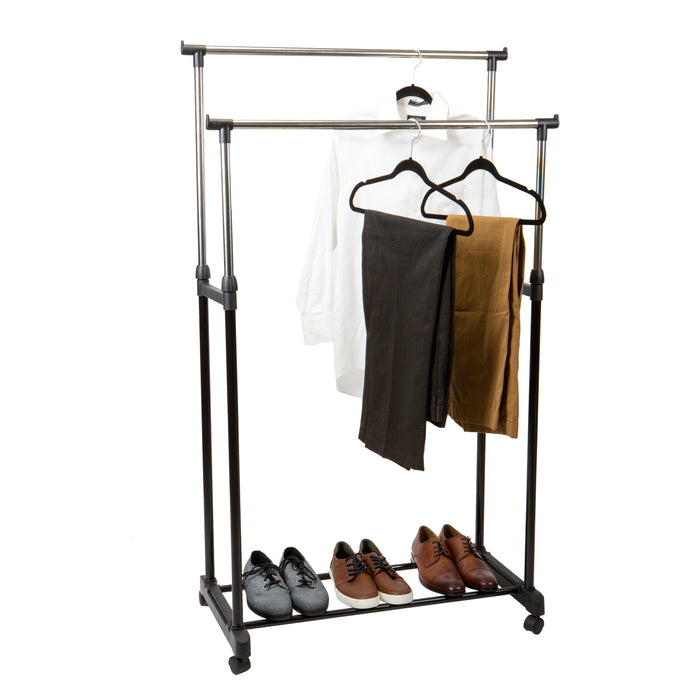 Simplify Double Tier Adjustable Height Clothes Rack with Wheels