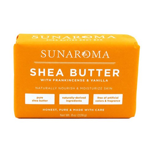 Sunaroma Soap Bar Shea Butter Frankincense and Vanilla 8 Ounce