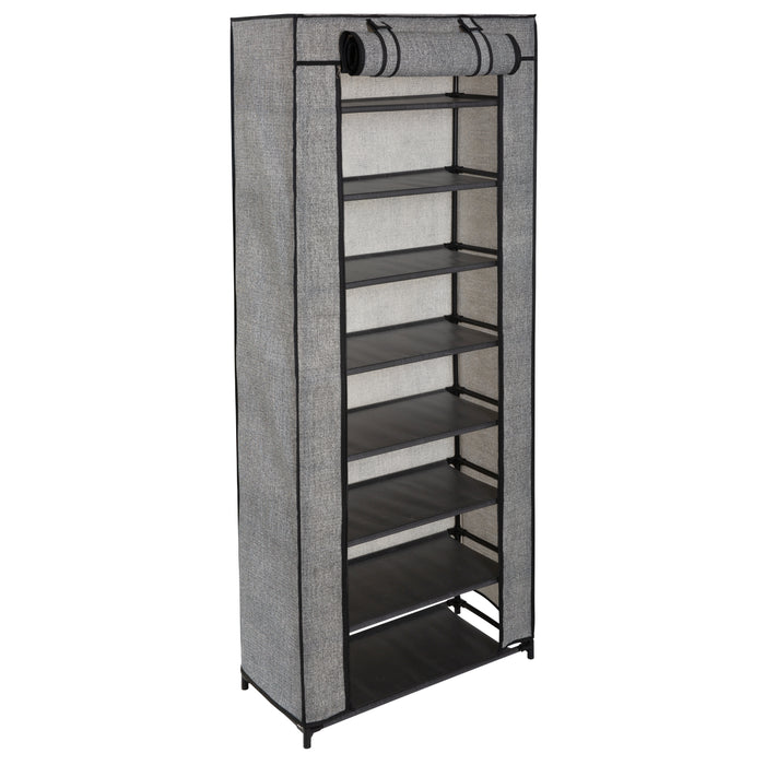 Simplify 8 Tier Shoe Organizer with Cover-Black