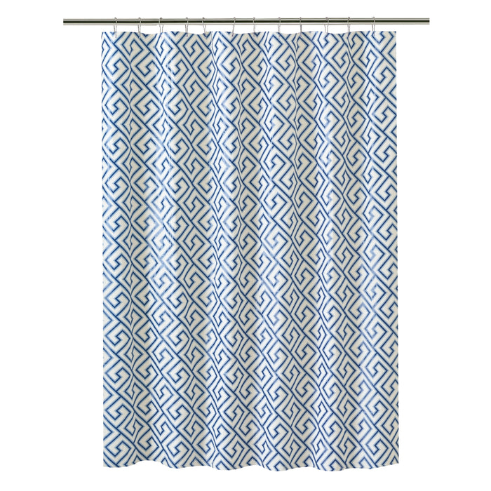 Bath Bliss Shower Curtain Key Design-Blue