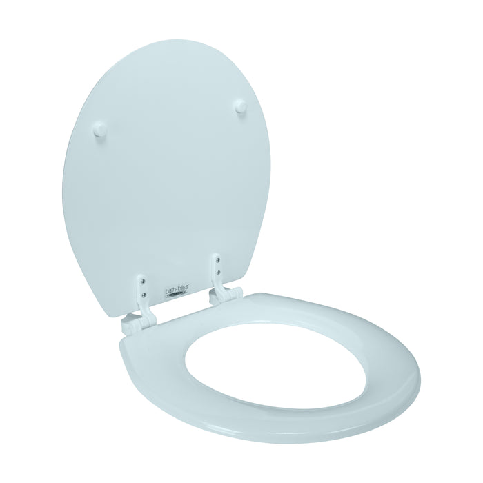 Bath Bliss Beveled Wood Standard Round Toilet Seat-Light Blue