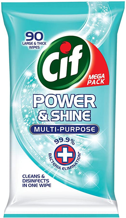 Cif Power & Shine Multi-Purpose Antibacterial Wipes 90 Count - Ocean Fresh