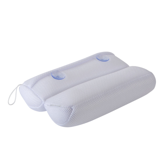 Bath Bliss Quick Dry Ultra Comfort Micro Mesh Sanitized Bath Pillow-White