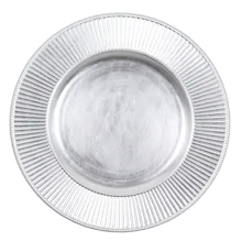 Round Charger Plate - Silver - Ribbed