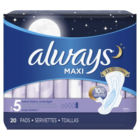 Always Overnight Maxi Pads - 20ct