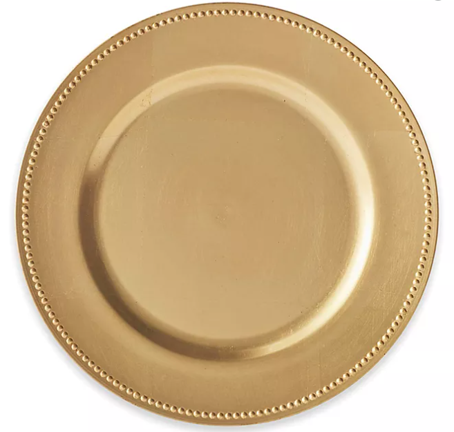 Round Charger Plate - Gold - Beaded