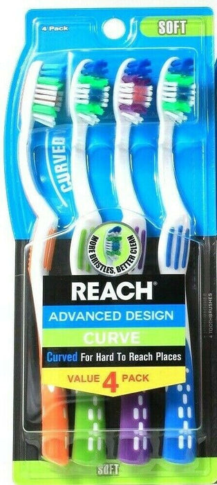 Reach Advanced Design Curved Hard To Reach Places 4 Ct Soft Toothbrushes