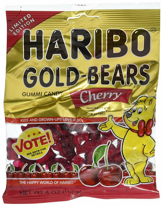 Haribo Gold Bears Gummi Candy Limited Edition Cherry Flavor, 4 Ounce Bag