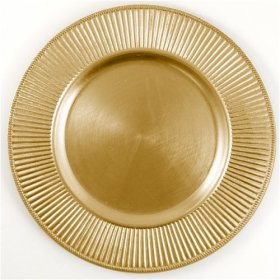 Round Charger Plate - Gold - Ribbed