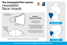 Load image into Gallery viewer, The commuter and the learner face mask instructions, page 1