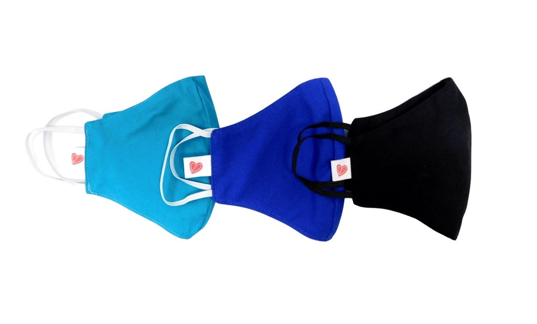 Three Youth Learner Face Masks in Black, Royal Blue, Oasis Colours.