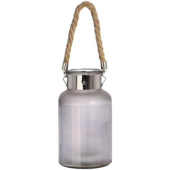 Frosted Glass Jar with Rope Detail and Interior LED Lights | L J Home