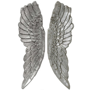 Antique Silver Large Angel Wings | L J Home