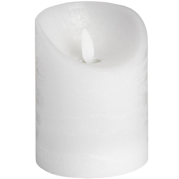 Luxe Collection 3 x 4 White Flickering Flame LED Wax Candle