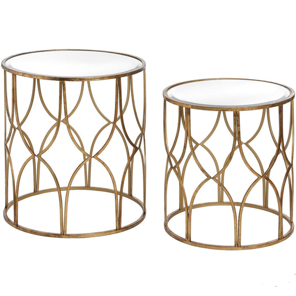 Set Of Two Lattice Detail Gold Side Tables