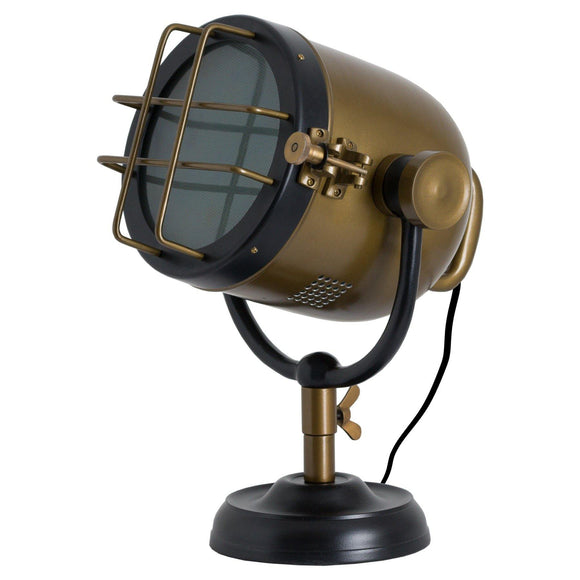 Brass And Black Industrial Spotlight Table Lamp | L J Home