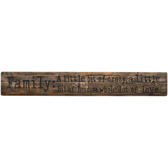 Family Large Rustic Wooden Message Plaque | L J Home