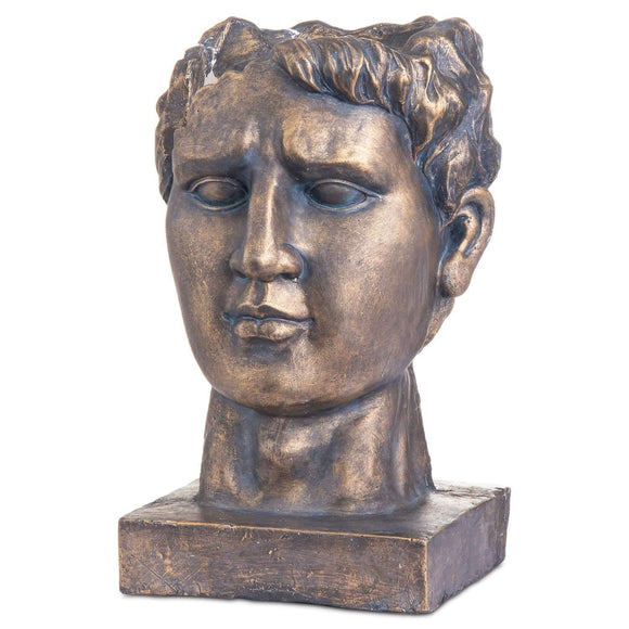 Antique Bronze Roman Head Planter Indoor Outdoor | L J Home