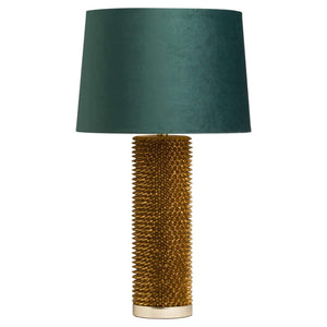 Antique Gold Acantho Table Lamp With Emerald Velvet Shade | L J Home
