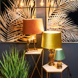 Antique Gold Pineapple Lamp With Artichoke Green Velvet Shade
