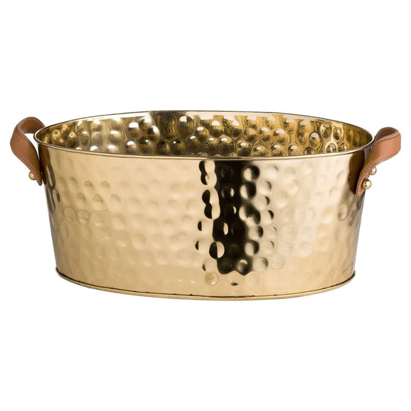 Brass Large Leather Handled Champagne Cooler | L J Home