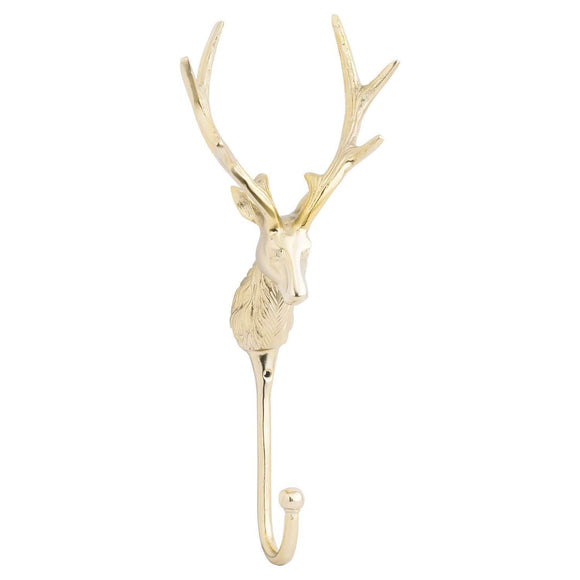 Large Stag Wall Hook In Brass | L J Home