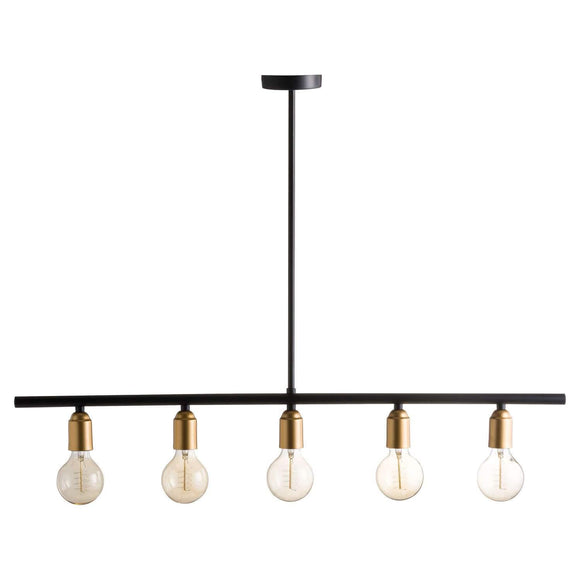 Black And Brass Industrial Five Bulb Bar Light